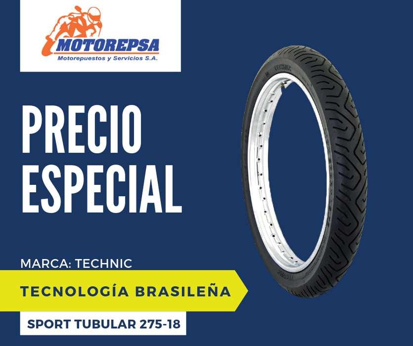 Llanta TECHNIC SPORT TUBULAR 275/18 para Moto HONDA CG125, CBX 150 Y SIMILARES