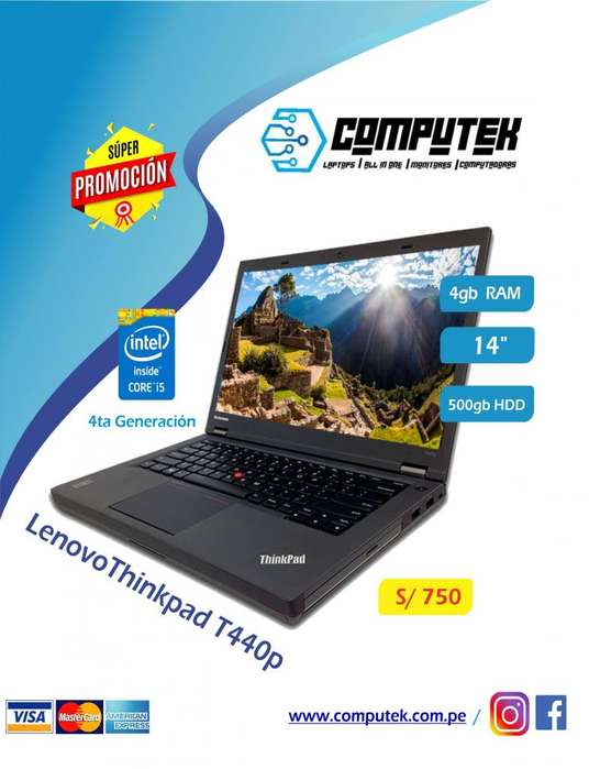 LAPTOP LENOVO T440p THINKPAD - REFURBISHED - CORE i5 4TA GEN, RAM 4GB , HDD 500, VIDEO 2GB, LED 14