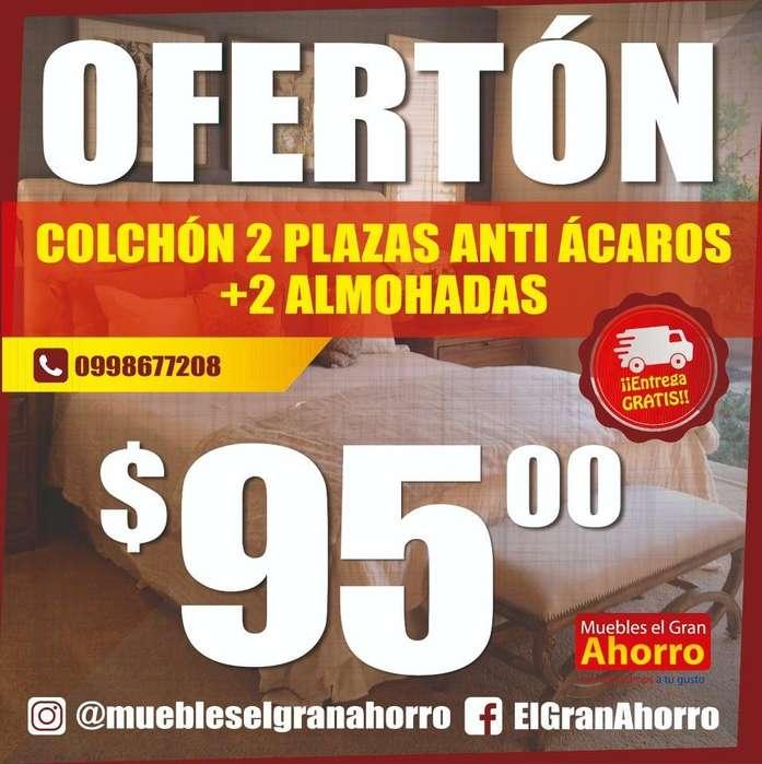 COLCHON 2 PLAZAS ANTI ACAROS MAS 2 Almohadas MAS Garantia 3 años certificada MAS Entrega Gratis Quito