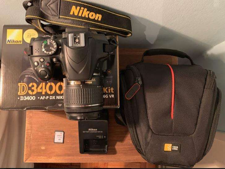 Cámara Réflex Nikon D3400 18-55mm Memoria 32 Gb Bolso