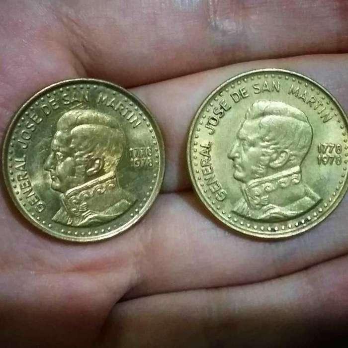Lote x2 monedas Argentina 50 y 100 Pesos 1978 conmemorativas Bicentenario del Nacimiento de San Martín