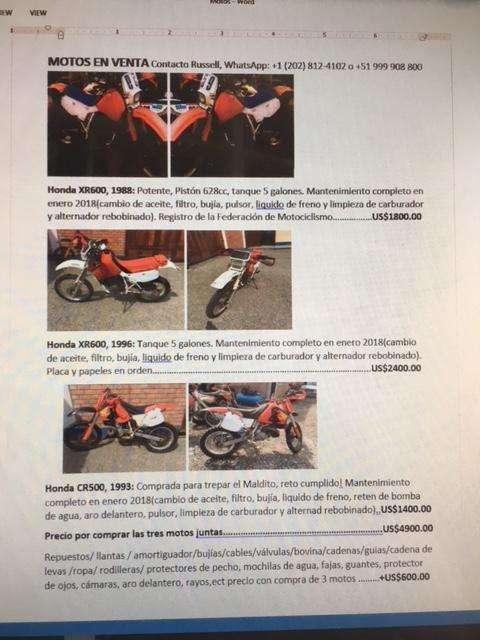 2 HONDA XR600 ARENERAS 3900ACCESORIOS