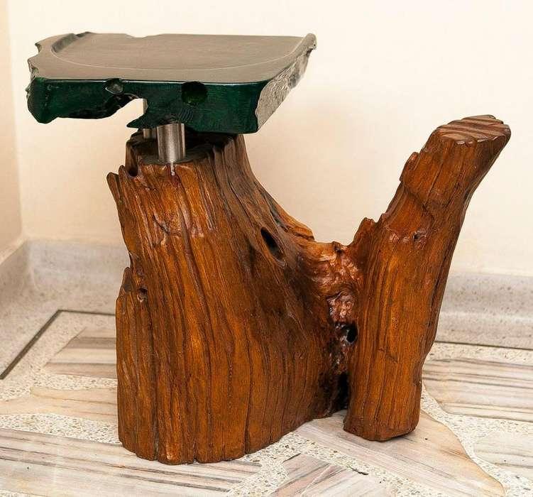 Butacos para sentarse artisticos, <strong>silla</strong>, en madera con resina