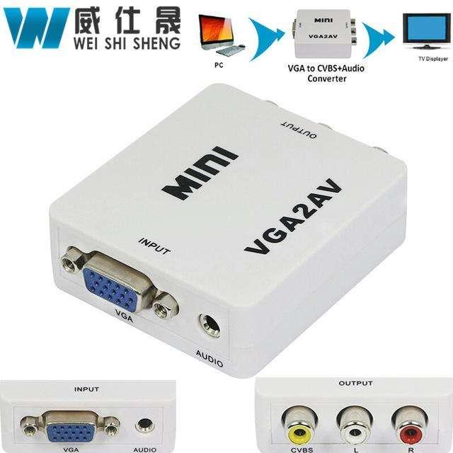 Adaptador VGA a AV RCA con Audio 3.5mm VGA2AV/CVBSAudio Convertor for HDTV PC