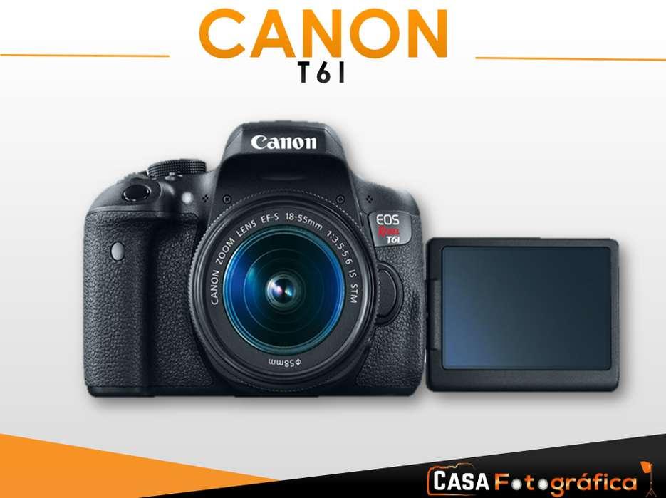 SUPER KIT Camara Canon Eos Rebel T6i Lente 18 55MM Wifi Y Nfc Entrada de microfono