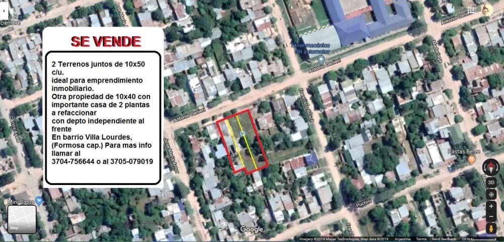 2 terrenos juntos de 10x50 c/u. Otro de 10x40 con casa a 5 minutos del centro de Formosa.