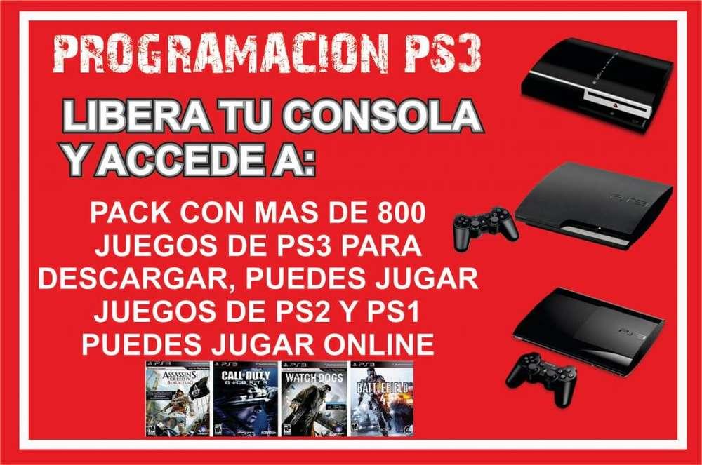 Programacion PS3 mas pack de 800 juegos para descargar, funciona en todos los modelos fat, slim y superslim