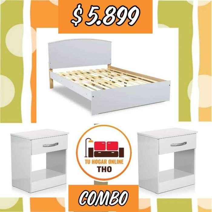 Combo Cama 2 Plazas 2 Mesas de Luz // Camas // Tu Hogar Online