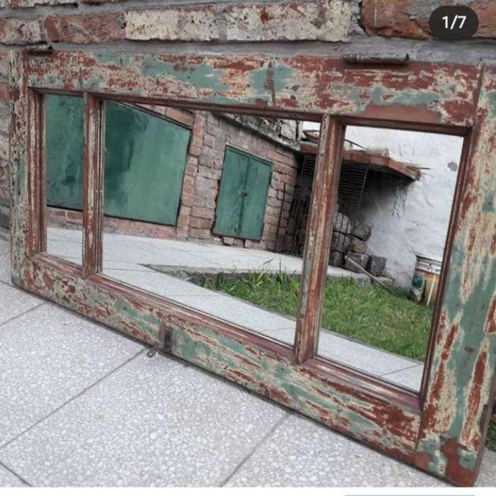 Espejo Vidrio Repartido Marco Decapado