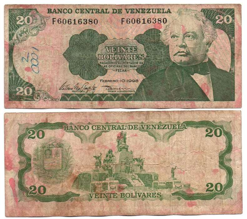 VENEZUELA. BILLETE. 20 BOLIVARES. 1998 FEB 10. ESTADO 6 DE 10. VALOR 2000
