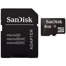 Memoria Micro Sd Sandisk 8gb Sdhc Clase 4 C/adaptador