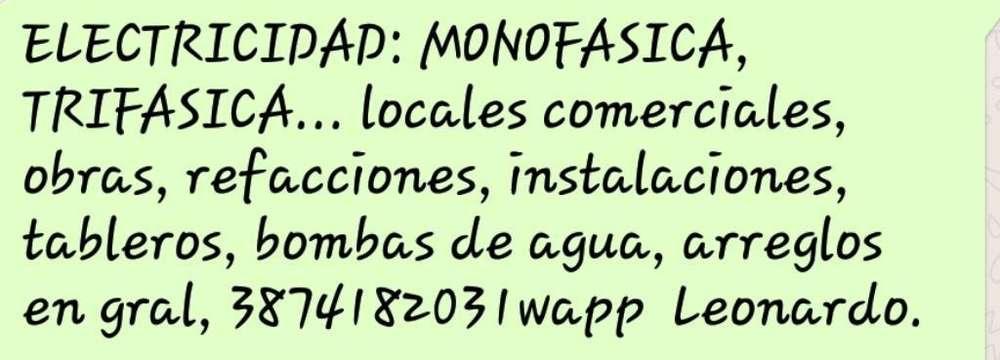 Electricidad: Monofasica Trifasica.