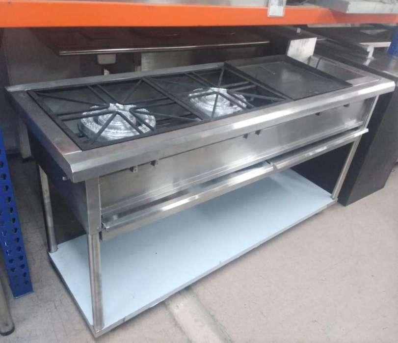 Equipo para cocción mixto estufa plancha