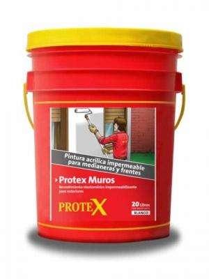 PROTEX MUROS Blanco Balde 20 lts. - Revestimiento acrilico elastico para impermeabilizar medianeras y frentes.
