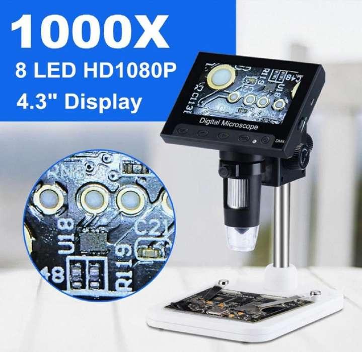 Microscopio Digital 1000x Recargable Pantalla 4,3 Pulgadas