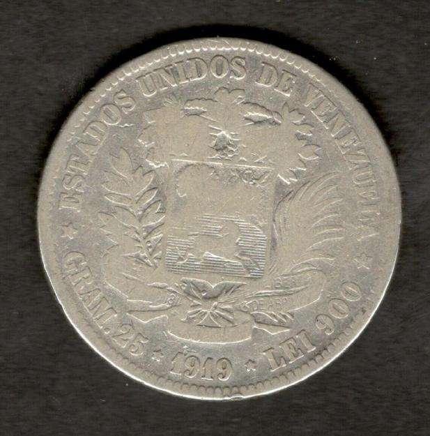 Venezuela 1919 FUERTE 5 Bolivares 90 Silver Coin 25 Gram