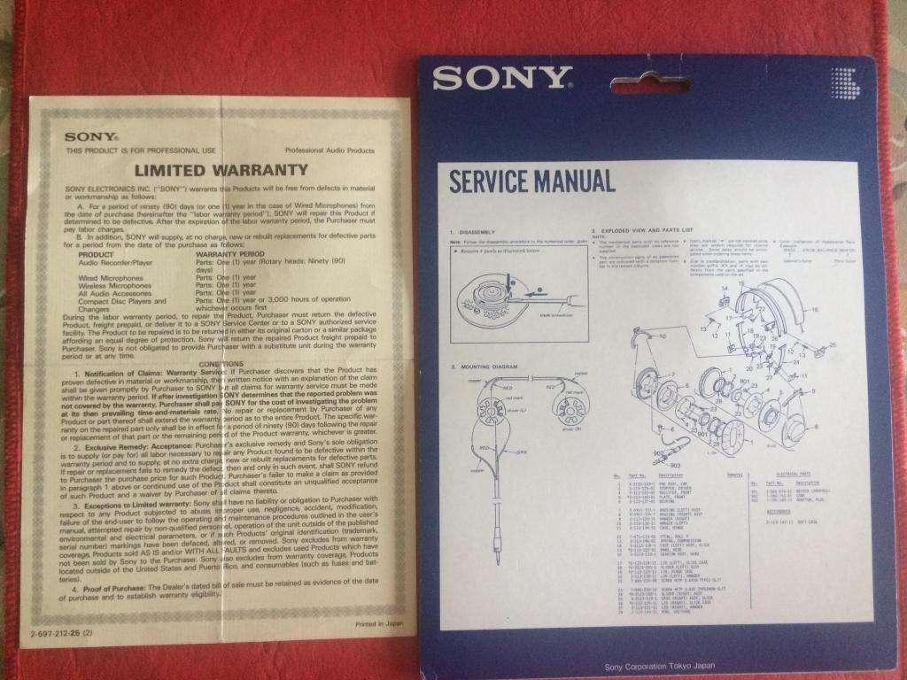Sony Mdr7506 Folleto Service Manual Caba Envios Al Interior