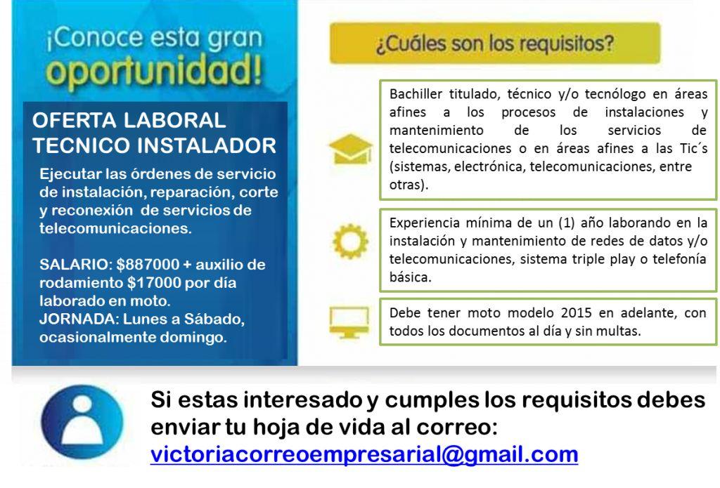 Oferta de empleo - Técnico de telecomunicaciones en Pereira