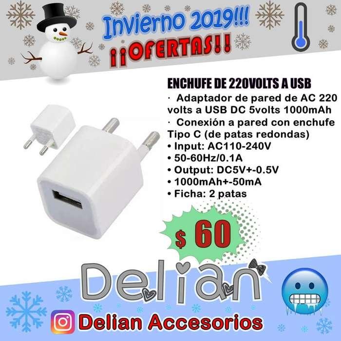 Enchufe Adaptador de 220 volts a USB