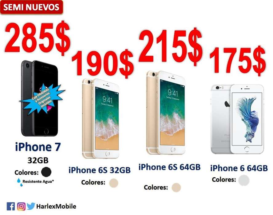 OFERTAS LIMITADAS! SEMINUEVOS iPhone 7/6S/6 LIBRE 32/64Gb TouchID 100% funcional AppleID/iCloud LIBRES*LOCAL COMERCIAL