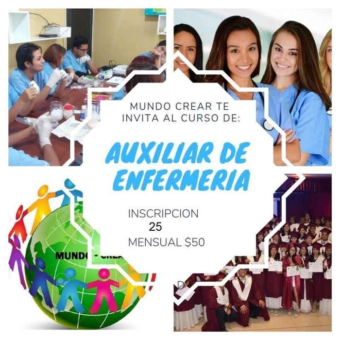 ASOCIACION MUNDO CREAR TE INVITA A LOS CURSOS DE AUXILIAR DE ENFERMERÍA CON AUSPICIO INSTITUCIONAL