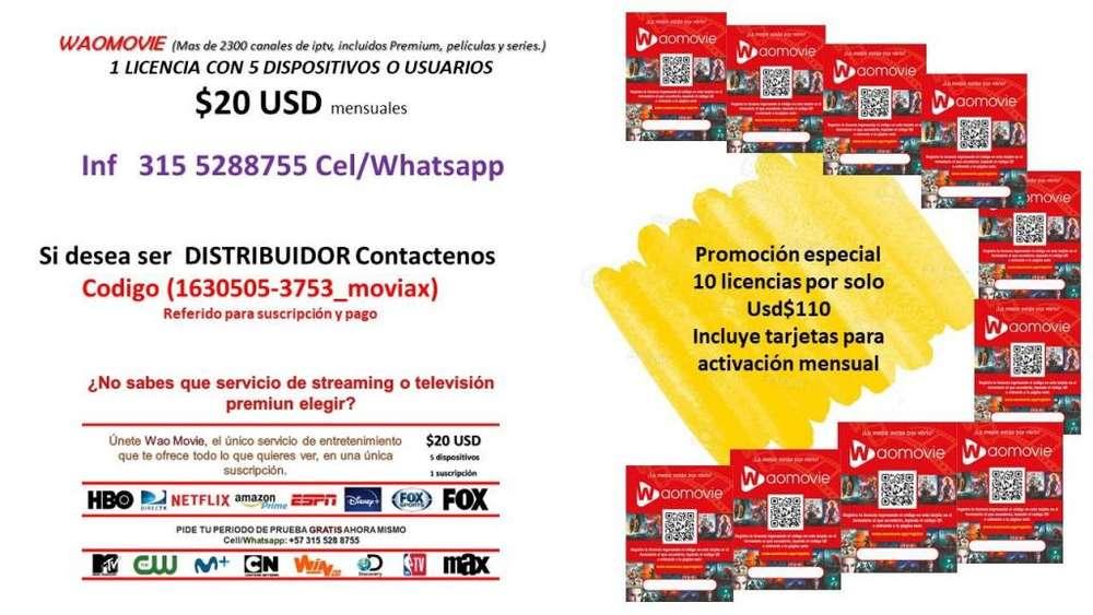 paquete suscripcion WAOMOVIE 10 licencias para 5 usuarios c/u
