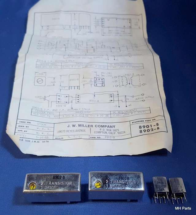 Kit de filtro de 2 piezas Vintage J. W. Miller Co, EE. UU. Parte 8902B NOS