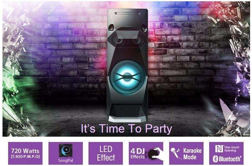 Sony MHCV4D Mini Componente, Bluetooth, 720W RMS, USB, <strong>karaoke</strong>, Negro