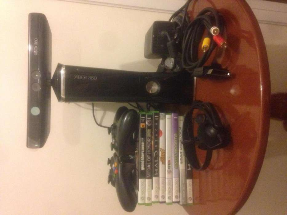 Xbox 360 Slim 250 Gb Kinect 2 Controles 8 Juegos Orig.
