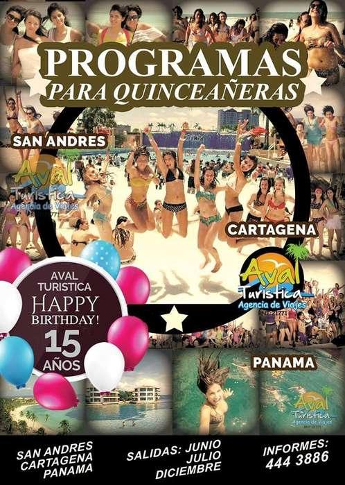Programa de Quinceañeras a San Andres, Cancún, Cartagena o Panamá