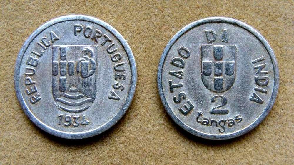Moneda de 2 tangas India Portuguesa 1934