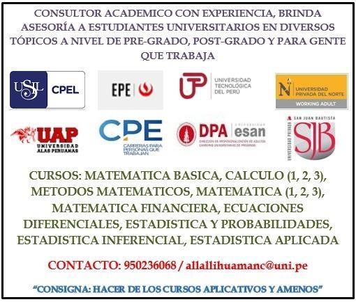 PROFESOR DE ESTADISTICA Y MATEMATICA, CON EXPERIENCIA Y DIDACTICA, ENFASIS EN UNIVERSITARIOS QUE TRABAJAN.