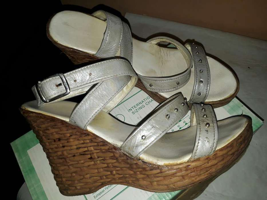 Sandalias Plateadas N 36 Taco Chino