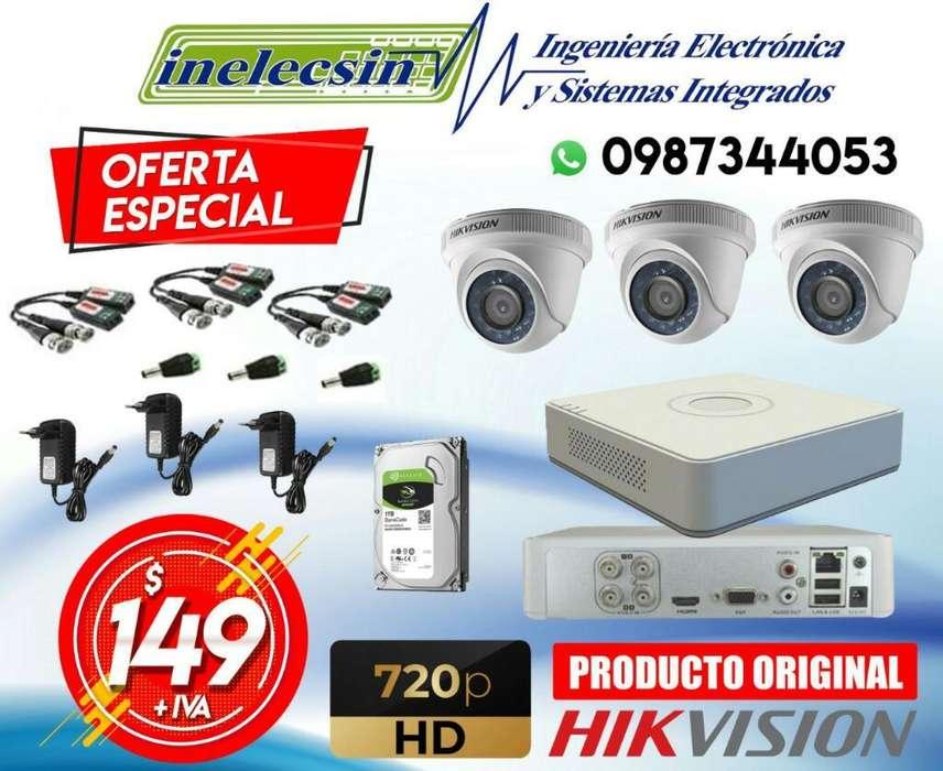 Kit de 3 Camaras de Seguridad Hikvision
