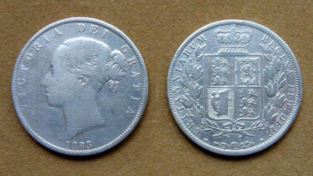Moneda de ½ corona de plata Gran Bretaña 1883