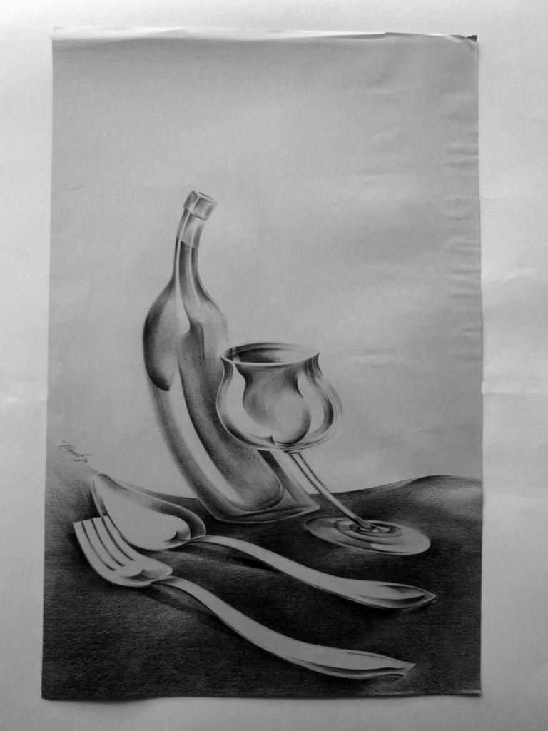 Ilustración Lápiz Sobre Cartulina Cena