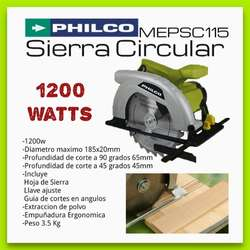 SIERRA CIRCULAR PHILCO 1200 W 185 MM. 7.1/4 PULGADA CON DISCO