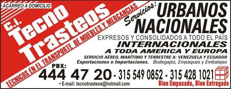 TRASTEOS, MUDANZAS, LOCALES Y NACIONALES 315 549 08 52