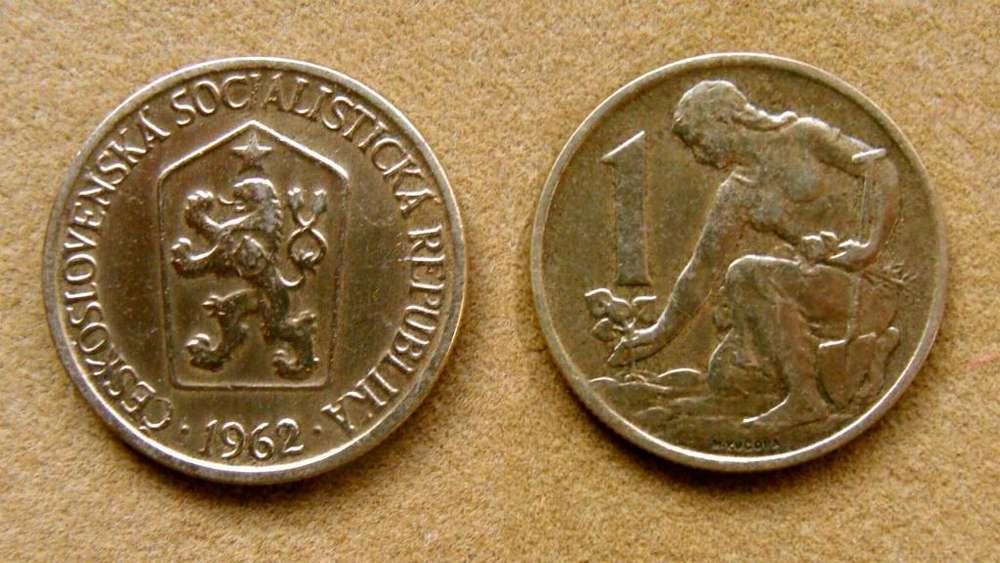 Moneda de 1 corona Checoslovaquia 1962