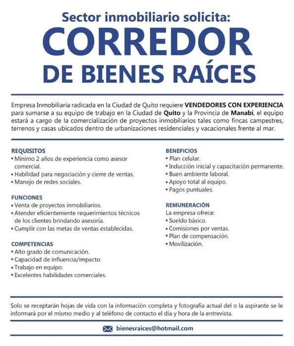 CORREDORES DE BIENES RAÍCES, VENDEDORES CON EXPERIENCIA