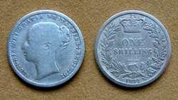 Moneda de 1 chelín de plata Gran Bretaña 1846
