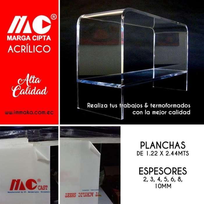 Acrilico 1.22 x 2.44 en espesores de 2, 3, 4, 5, 6, 8, 10mm planchas, laminas, policarbonato, alucobond, cielo raso pvc