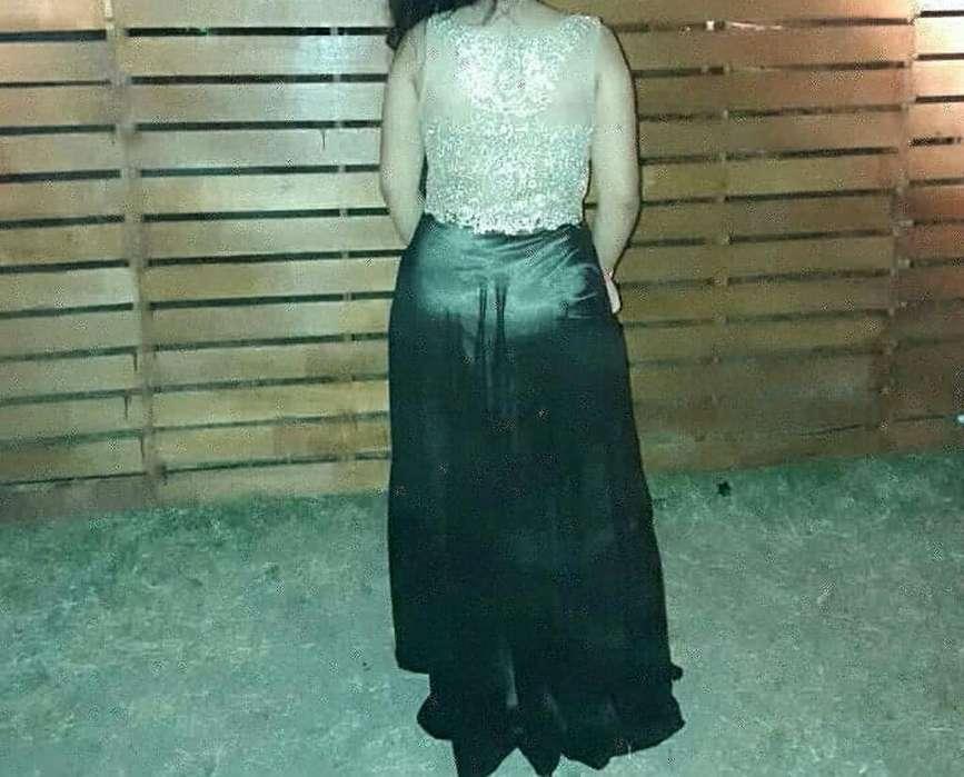 Vestido de Gala Dorado con Negro