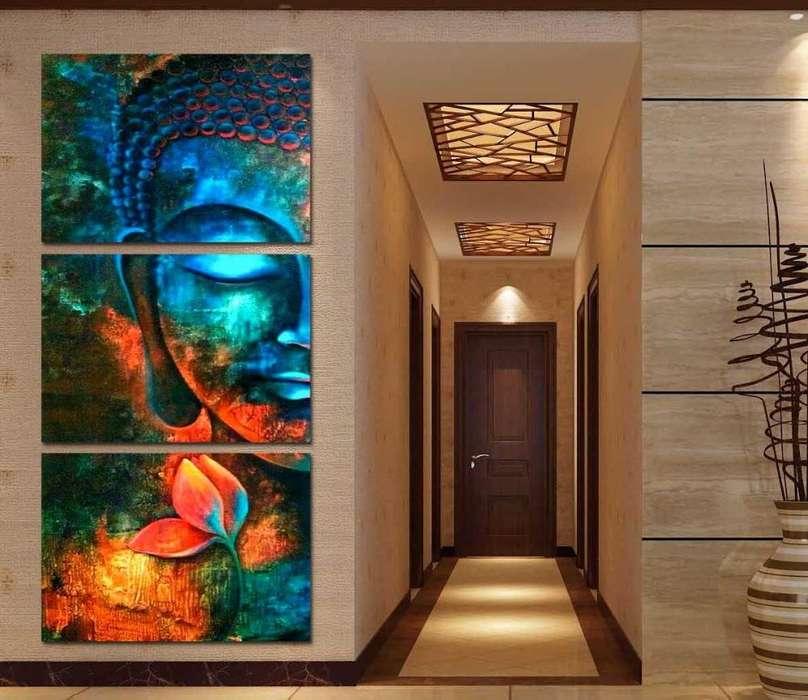 obra de buda azul en paneles 9757
