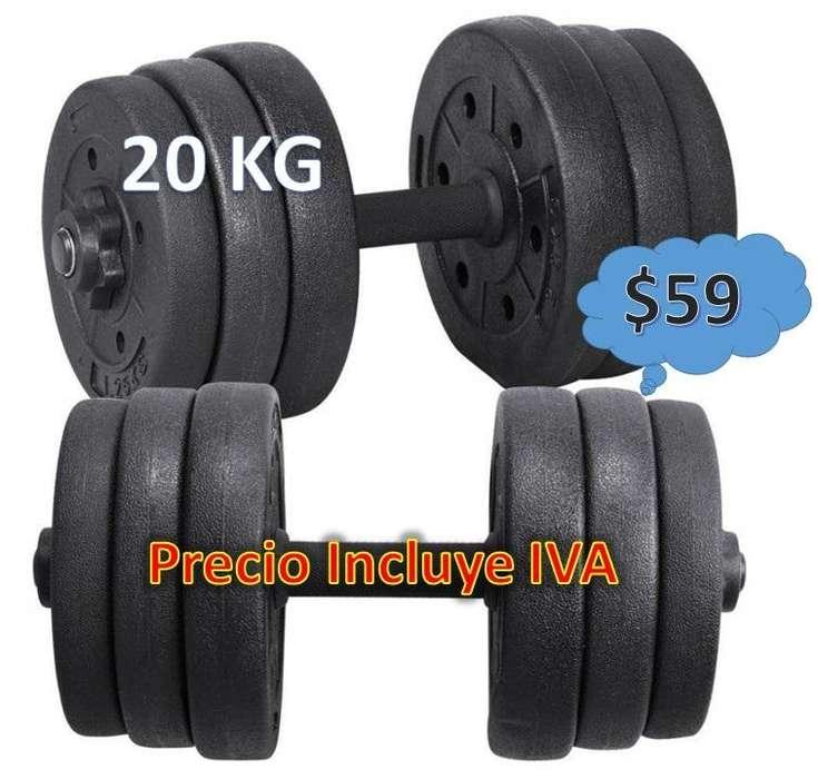 Pesas Mancuerdas 20kg 50kg Pesa Rusa Kit Gimnasio Regulables PRECIO INCLUYE IVA