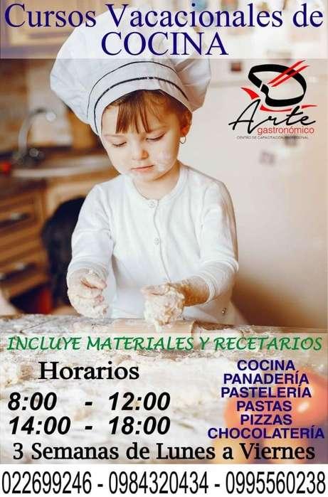CURSO VACACIONAL DE COCINA DE NIÑOS DE 6 HASTA 17 AÑOS