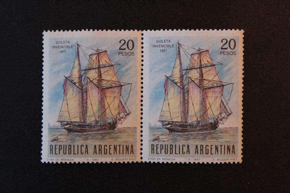 BLOCK 2 ESTAMPILLAS ARGENTINA, 1967, DÍA DE LA ARMADA, GOLETA INVENCIBLE DE 1811, MINT