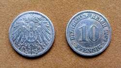 Moneda de 10 pfennig Alemania 1900