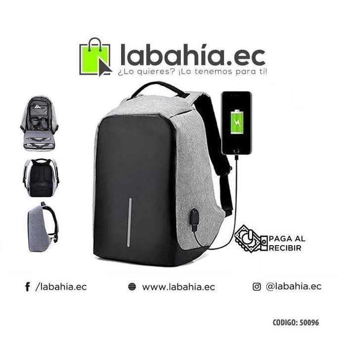 Mochila Con Seguridad De Candado Con Clave, Usb, Laptop