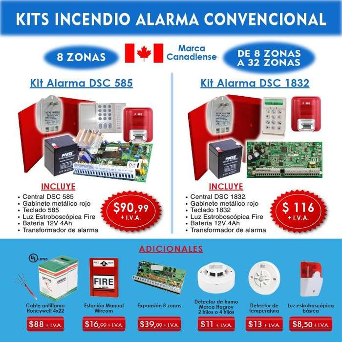 Alarma kit contra incendio panel dsc /bosch, sensores de humo fotoelectricos,sensor de gas temperatura estacion manual